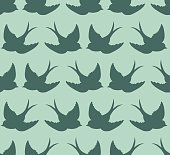 Old school pattern with birds and letters