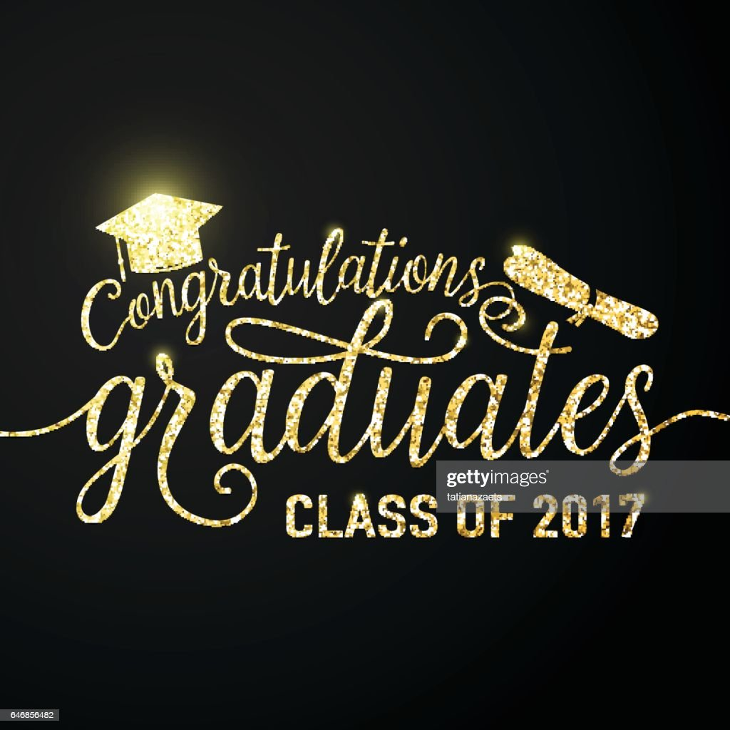 Vector on black graduations background congratulations graduates 2017 class