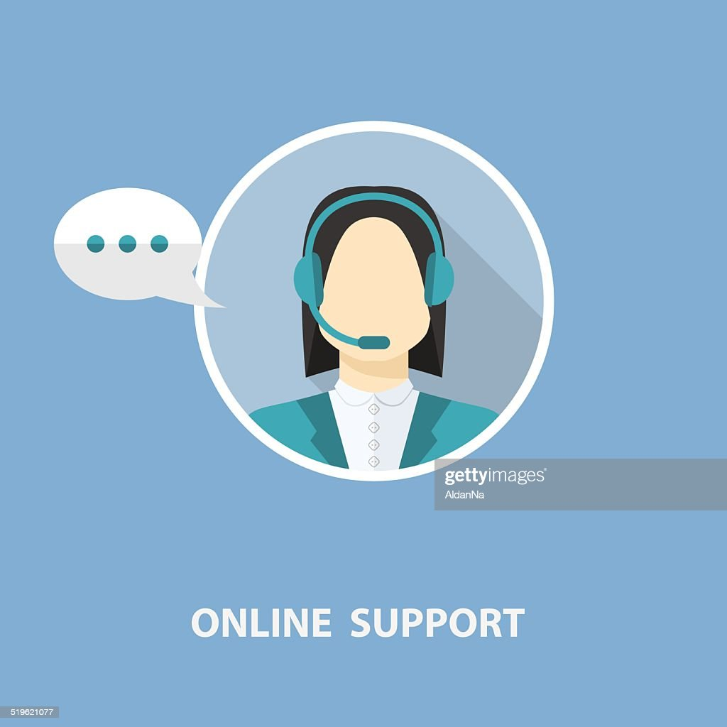 Vector online support concept in flat stile