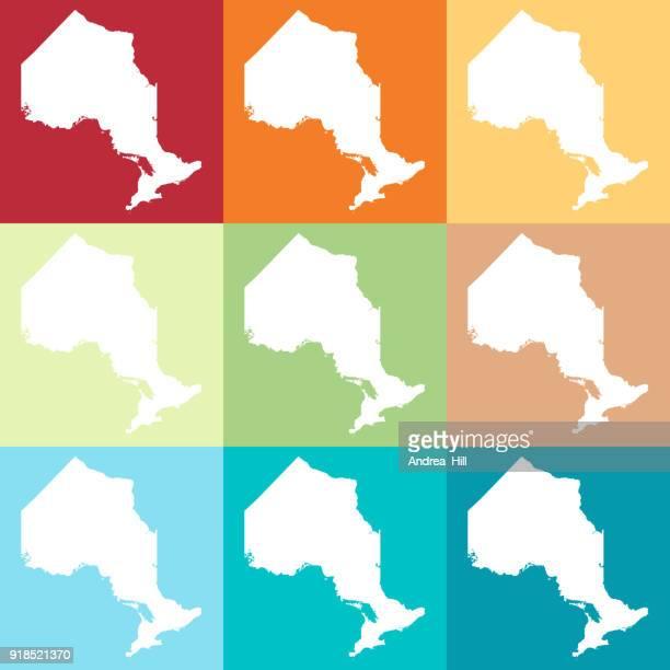 Vector Ontario, Canada Map in Beachy Colours