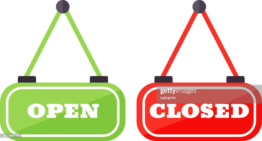 Vector open and close sign.