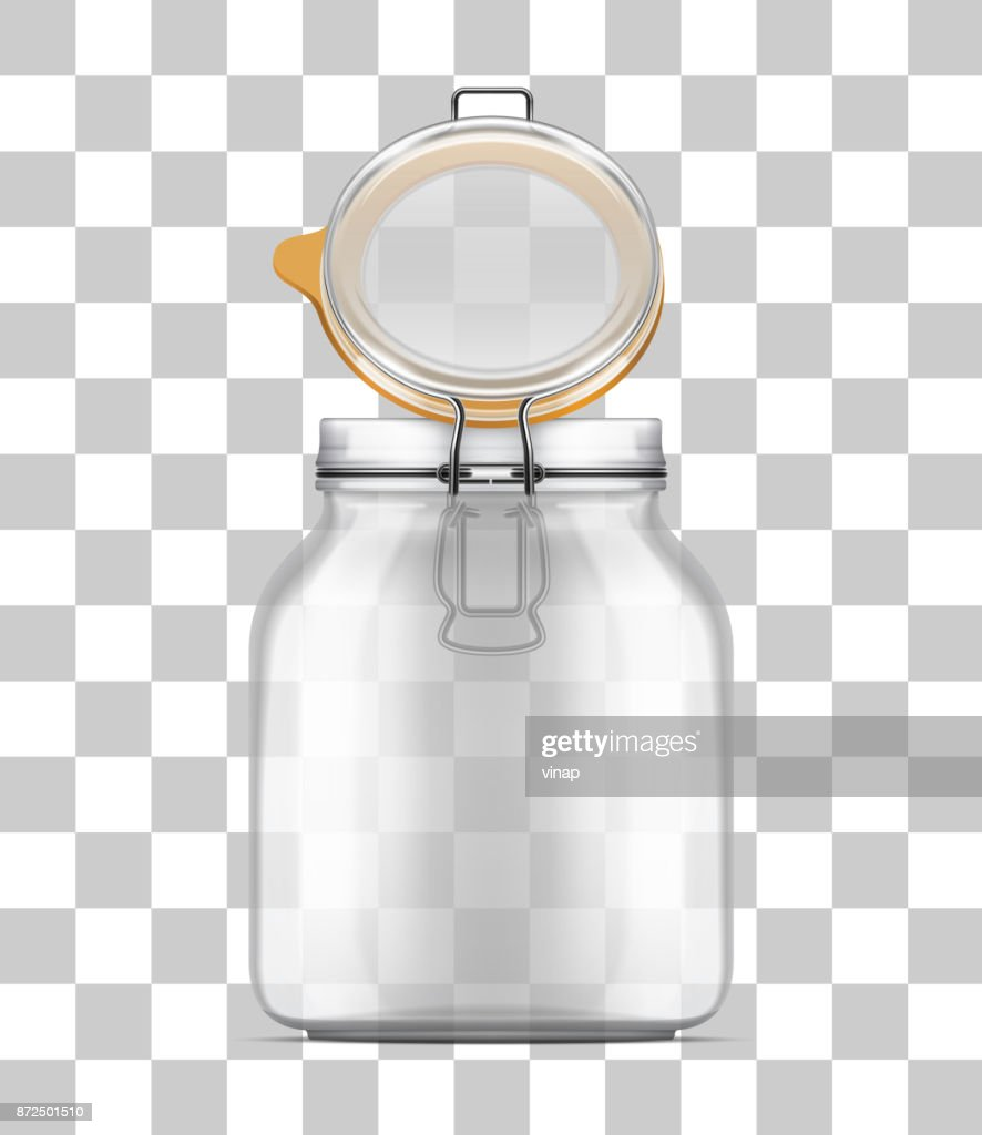 Vector open Bale Glass Jar with Swing Top Lid isolated on transparent background