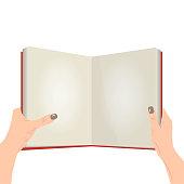Vector open book in the hands