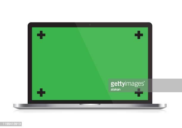 illustrazioni stock, clip art, cartoni animati e icone di tendenza di vector open laptop with chroma key and reflection on white ground - chroma key