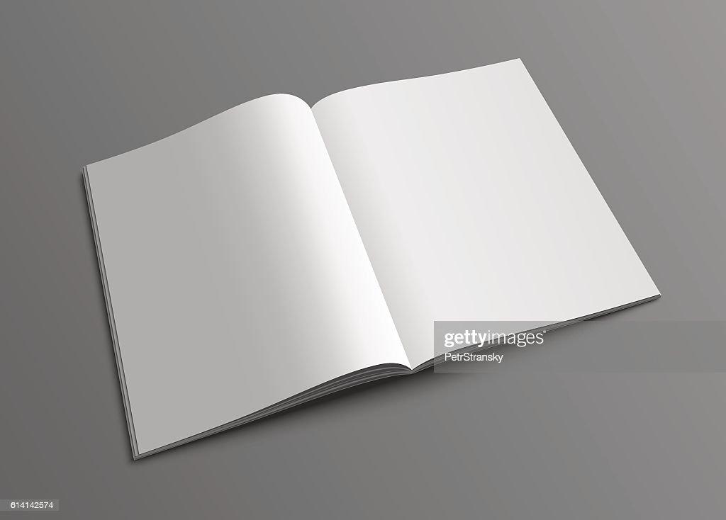 Vector open magazine or brochure mockup template.