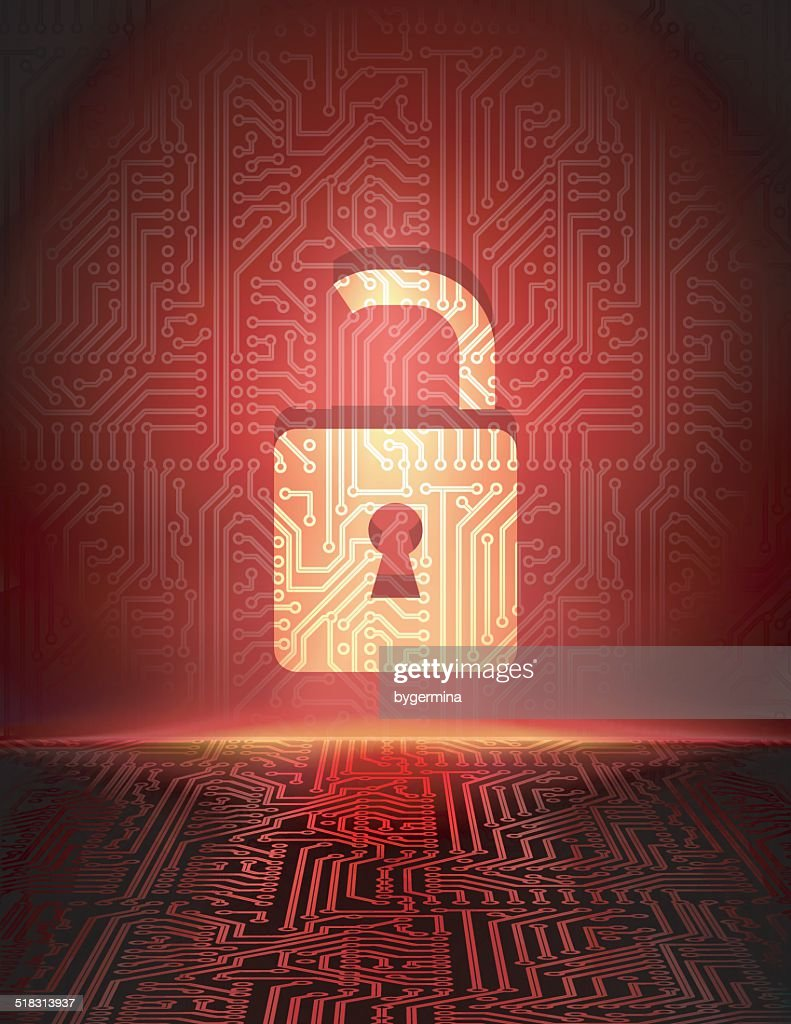 Vector opened padlock in cyber space