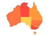 Vector orange blank map of Australia