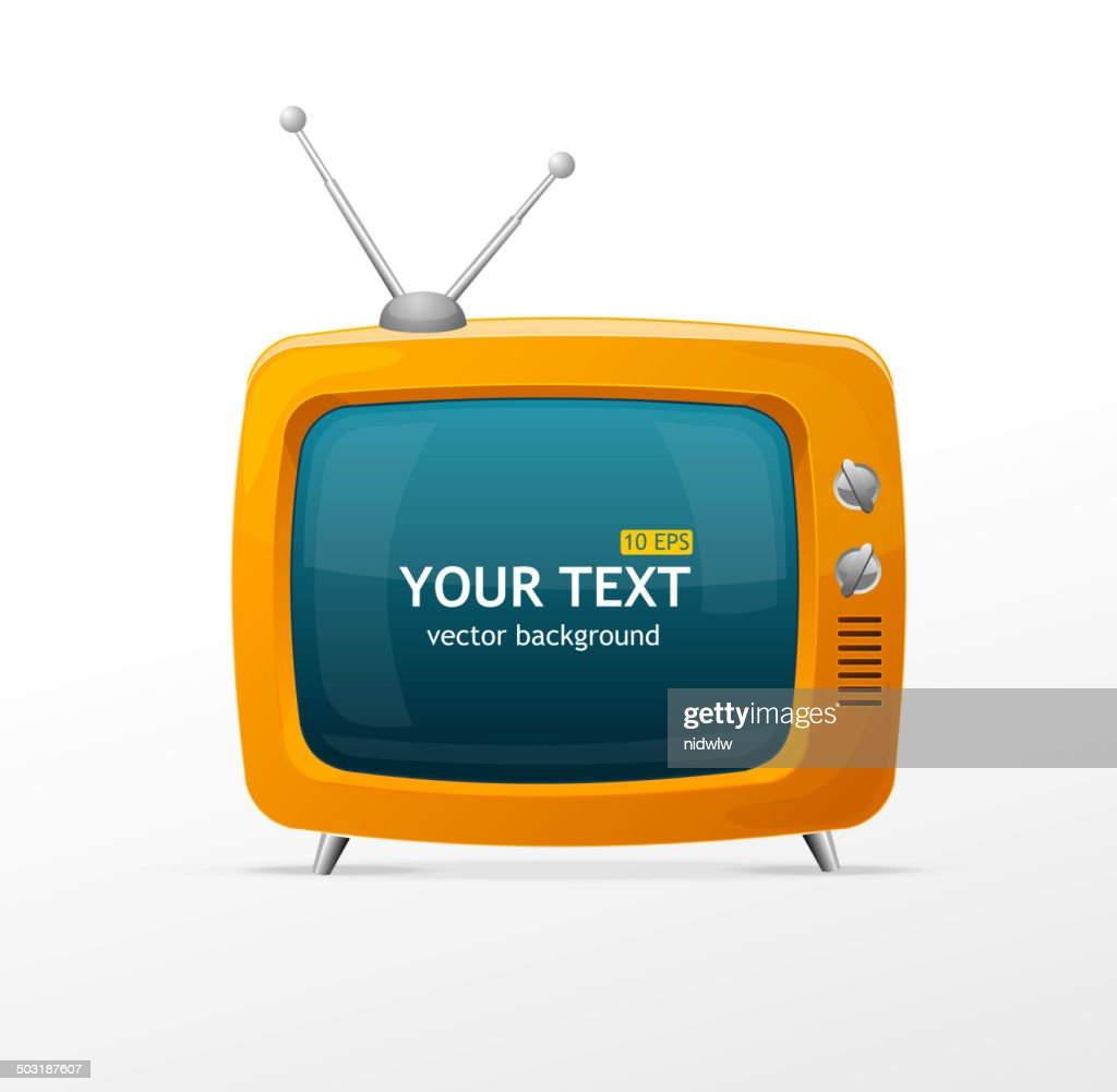 Vector orange retro TV