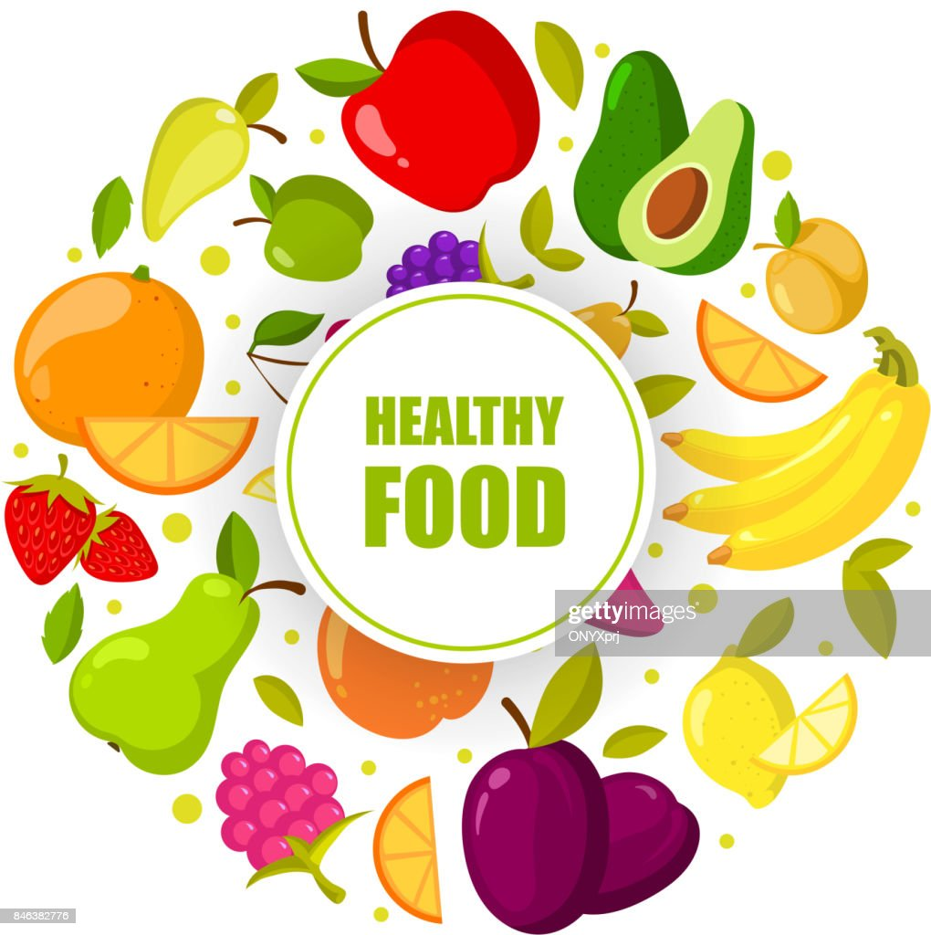Vector organic fruits frame isolated. Banner with natural healthy food illustration