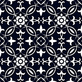 Vector oriental pattern in blue color. Tile or dutch tile style. Turkish pattern