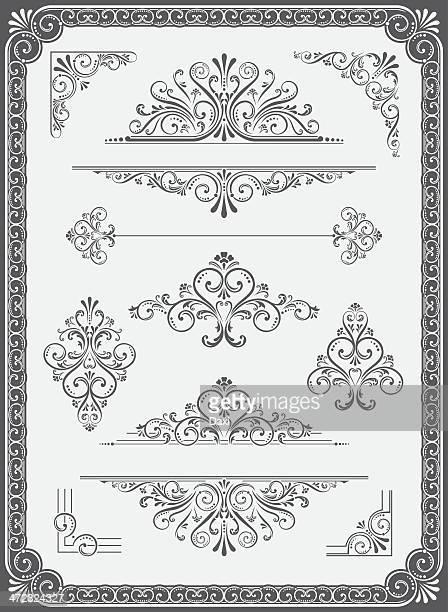 Vecteur ornement, cadre intérieur compartimenté, de coins et rubans