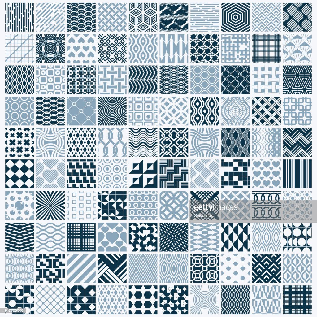 Vector ornamental black and white seamless backdrops set, 100 geometric patterns collection. Ornate textures made in modern simple style.