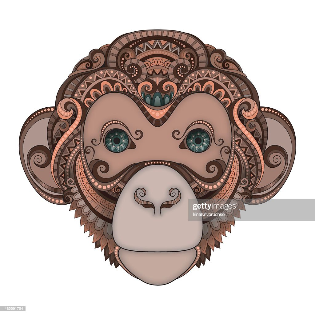 Vector Ornate Brown Monkey Head with Green Eyes