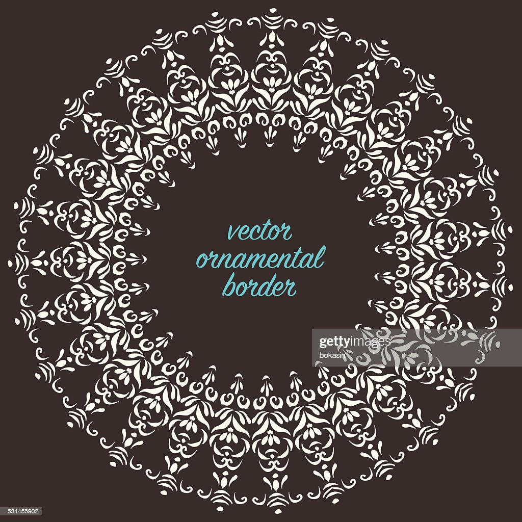 Vector ornate decorative round border oriental style