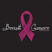 Vector Ornate Pink Ribbon of Breast Cancer on Black Background