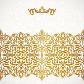 Vector ornate seamless border in Victorian style.