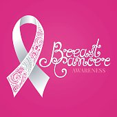 Vector Ornate White Ribbon of Breast Cancer on Pink Background