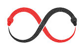 Vector Ouroboros sign tattoo design with two intertwined snakes eating their tails.