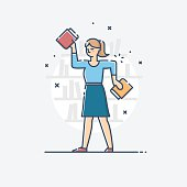 Vector outline business illustration of people profession librarian