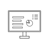 Vector outline computer screen with data. Vector outline compute