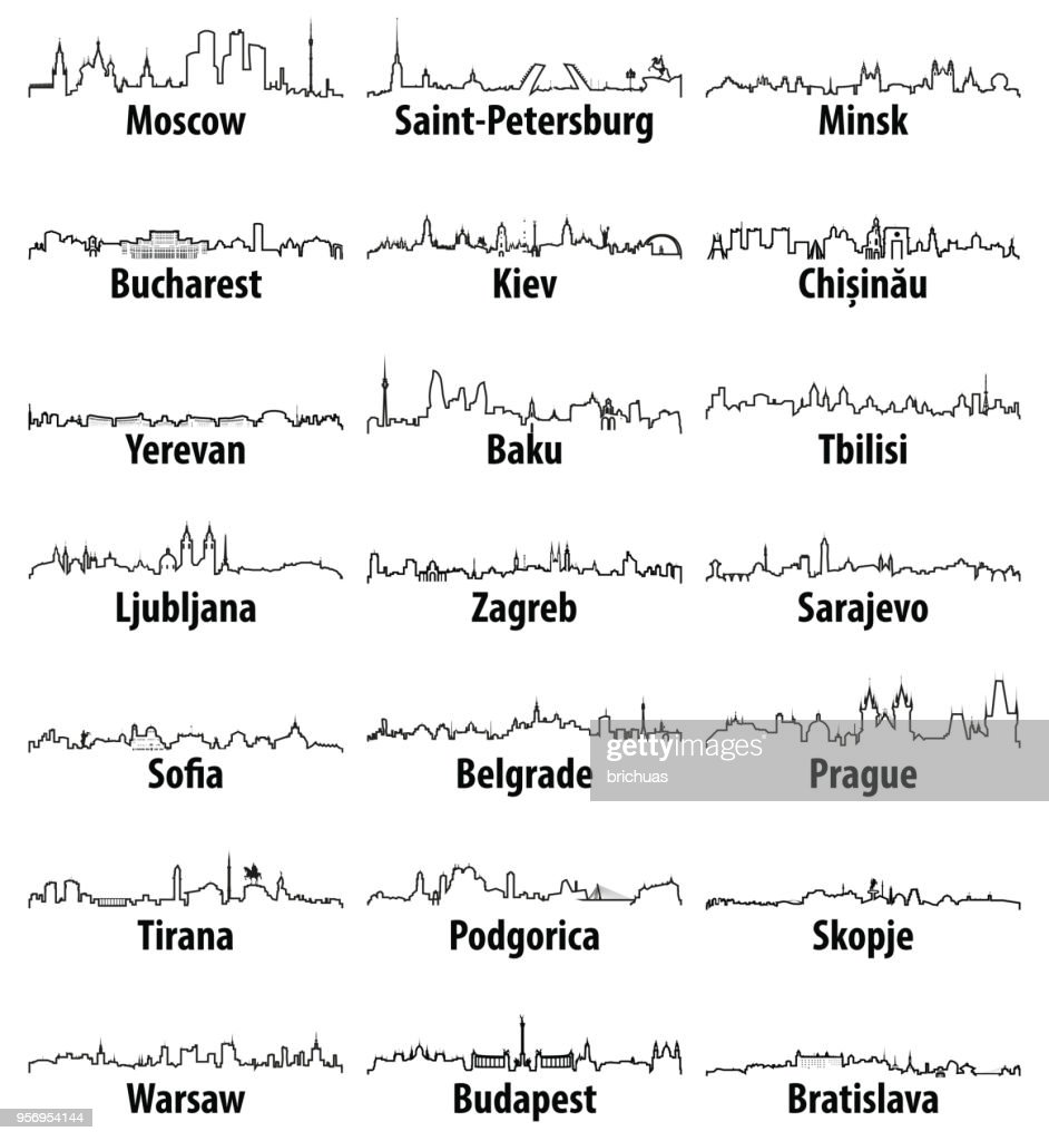 vector outline icons of East Europe cities skylines