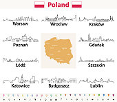 vector outline icons of Poland cities skylines with map and flag of Poland