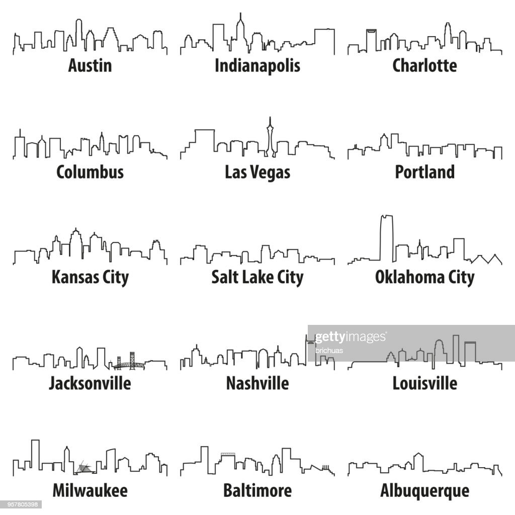 vector outline icons of United States cities skylines