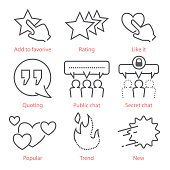 Vector outline icons set with social media symbols
