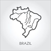 Vector outline map of Brazil. Outline frame icon. Cartography symbol of south country. Illustration on a gray background