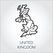 Vector outline map of United Kingdom. Great Britain linear shape icon. Cartography symbol of country