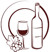 Vector outline of wine bottle and glass with grapes