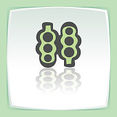 Vector outline pea beans in pod icon. Modern infographic logo and pictogram.