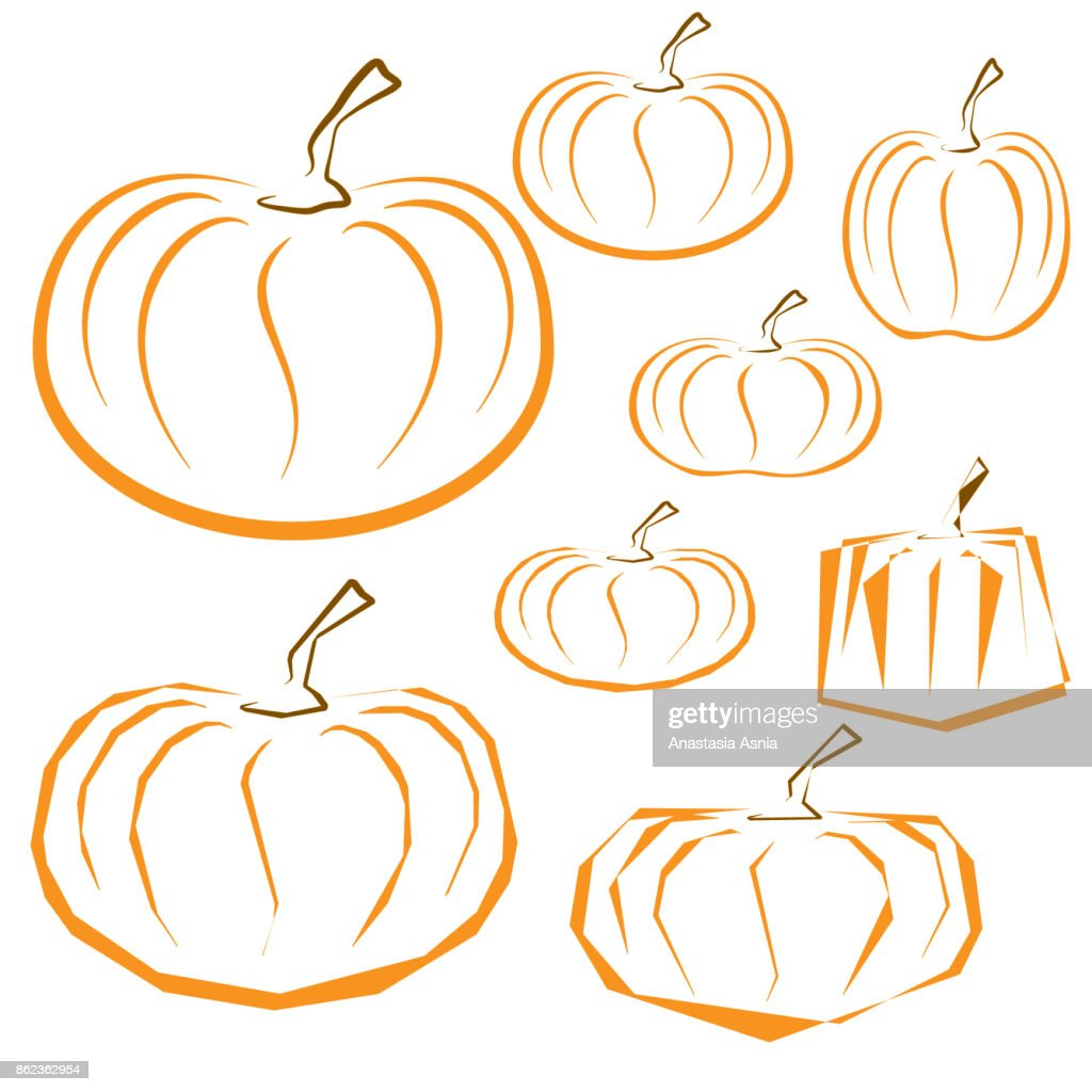 Vector Outline Pumpkins Set On White Background Vector Art Getty