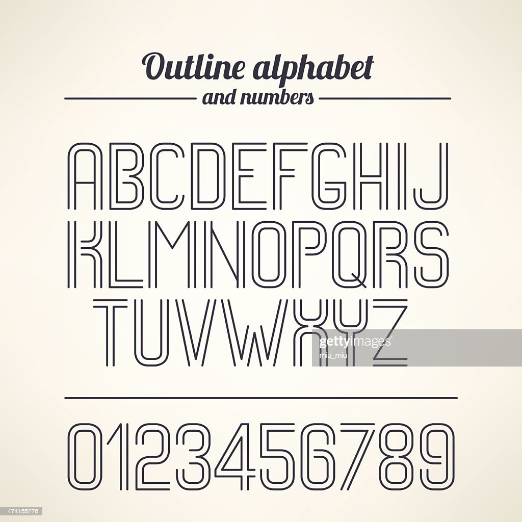 Vector outlined alphabet and numbers