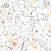 Vector outlined woodland seamless pattern.