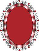 Vector Oval Valentine Frame or Tag With Gingham Trim