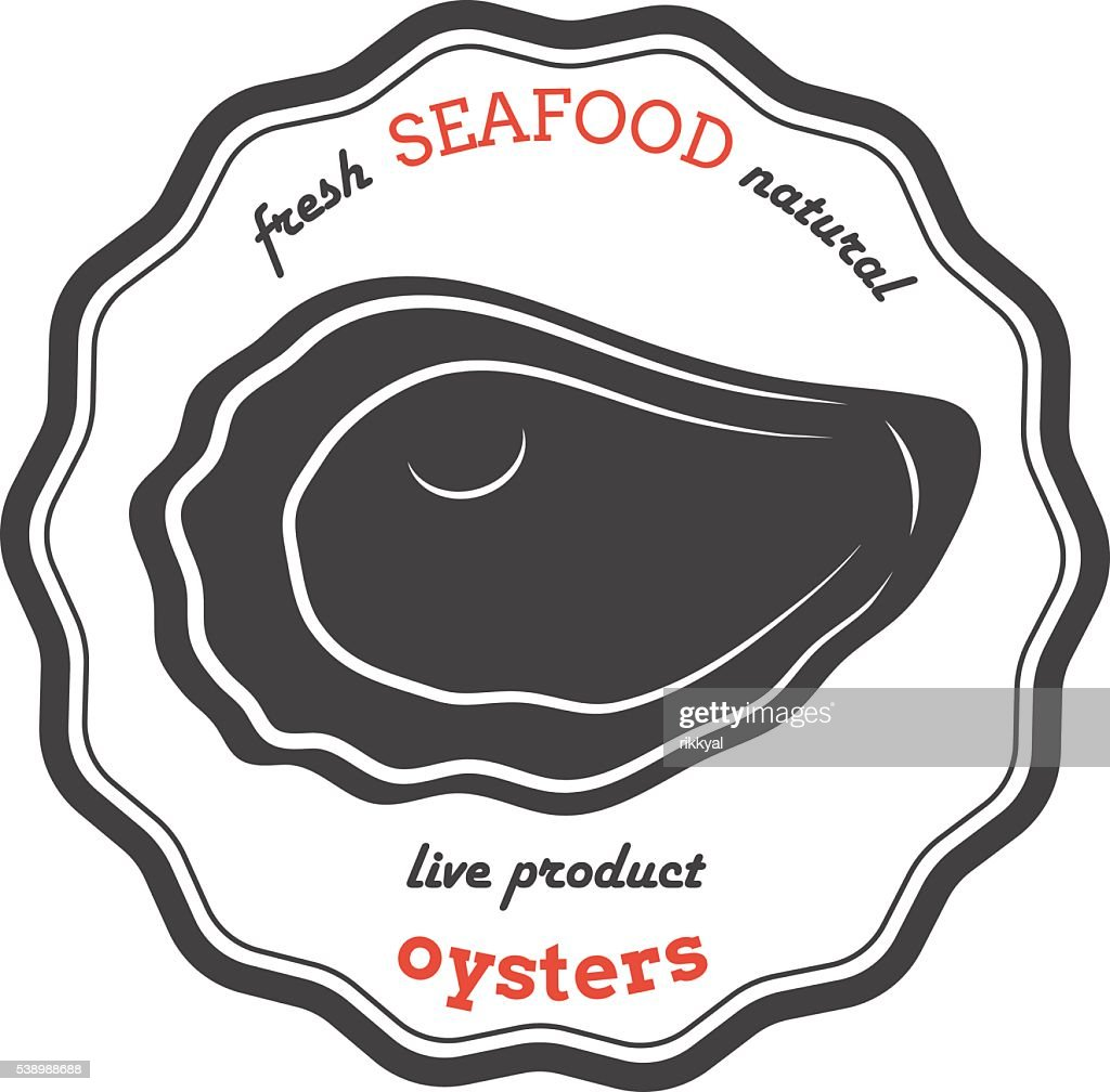 Vector oyster silhouette. Oyster label.