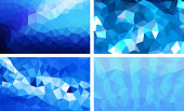 vector pack low poly background blue color