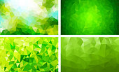 vector pack low poly background green color