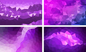 vector pack low poly background purple color