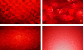 vector pack low poly background red color