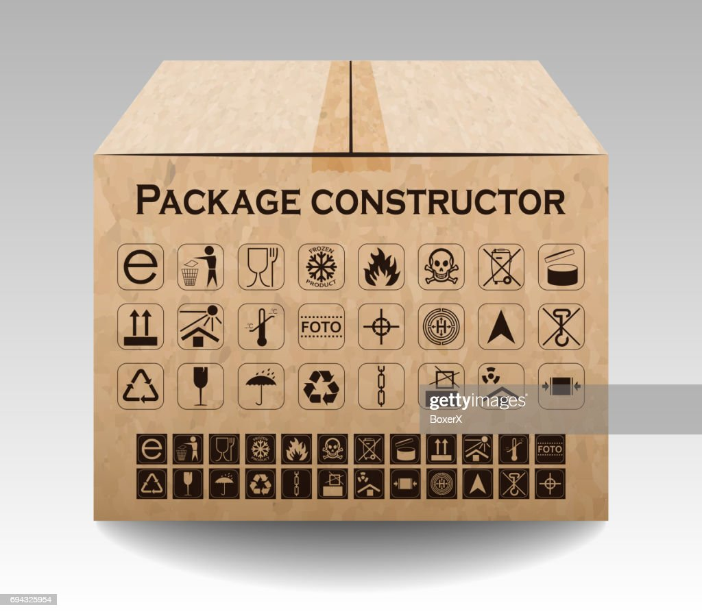 Vector package box isolated on white. Packaging symbols.  Icon set including waste recycling, fragile, flammable, this side up, handle with care, keep dry and others. Vector illustration