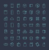 Vector package types icon set in thin line style