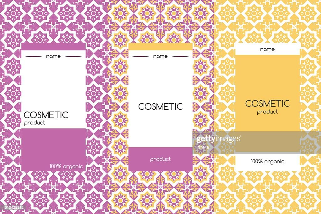 Vector packaging design elements for cosmetics