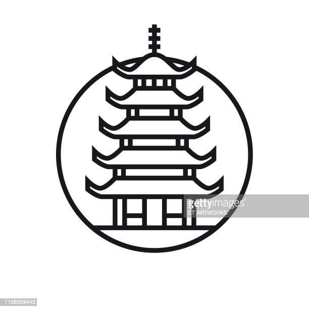 vector pagoda icon - pagoda stock illustrations, clip art, cartoons, & icons