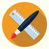 Vector pain brush and ruler icon