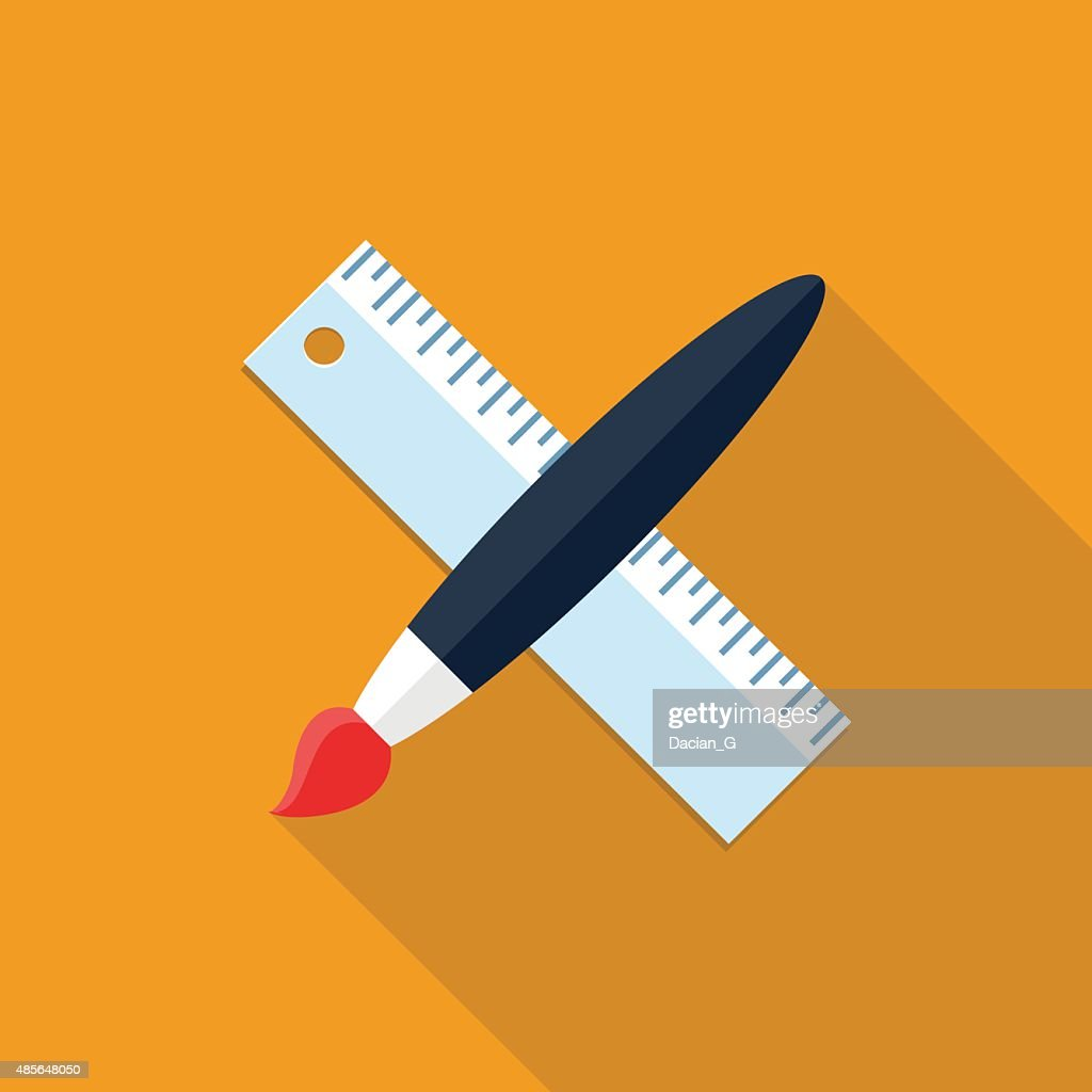 Vector paint brush and ruler icon
