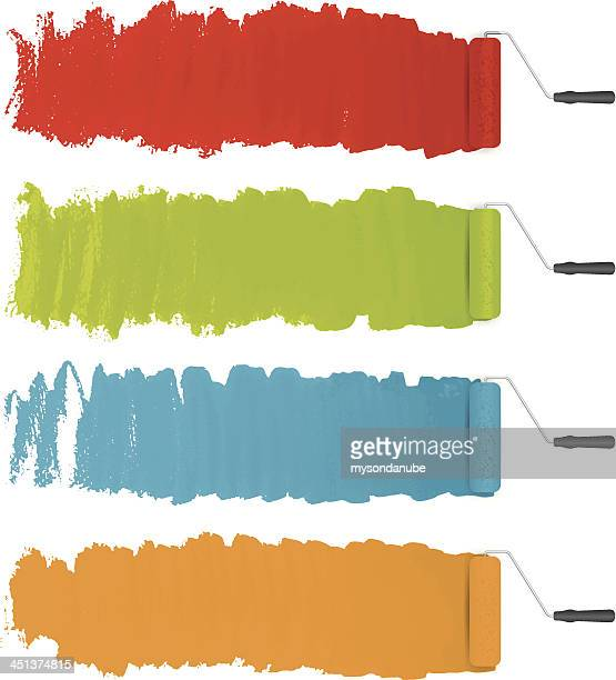 vector paint rollers with colorful paints background