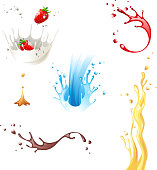 Vector paint splashes in different colors and shapes
