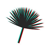 Vector palm leaves with glitch effect. Color channels illustration of tropical leaves.